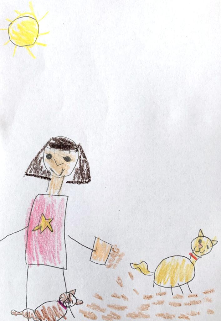 Kids drawing FeedingCats