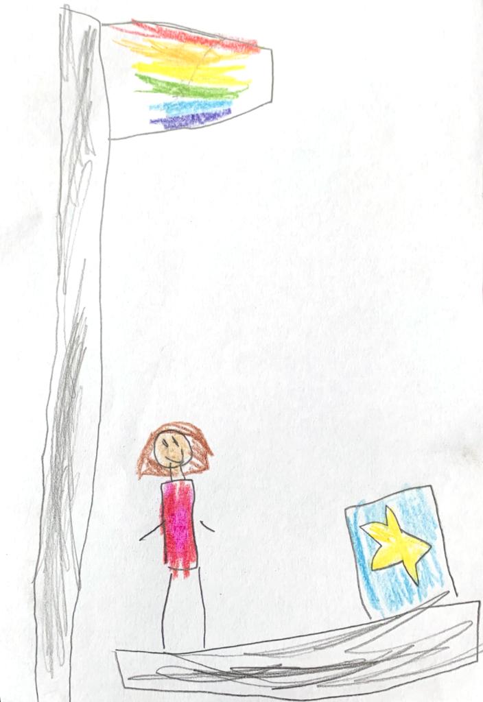 Kids drawing Rainbow Flag