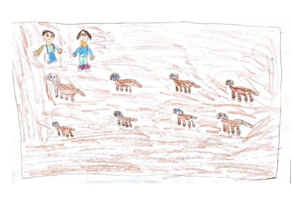 """Kids drawing: """"Hockey rink being used as a dog run."""""""