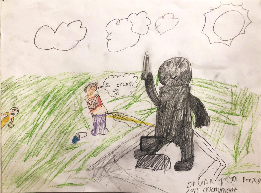 "Kids Drawing ""Drunk man peeing on monument"""