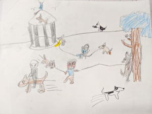 """drawing. - """"near Gazebo about four men and 8 big dogs just running wild"""""""