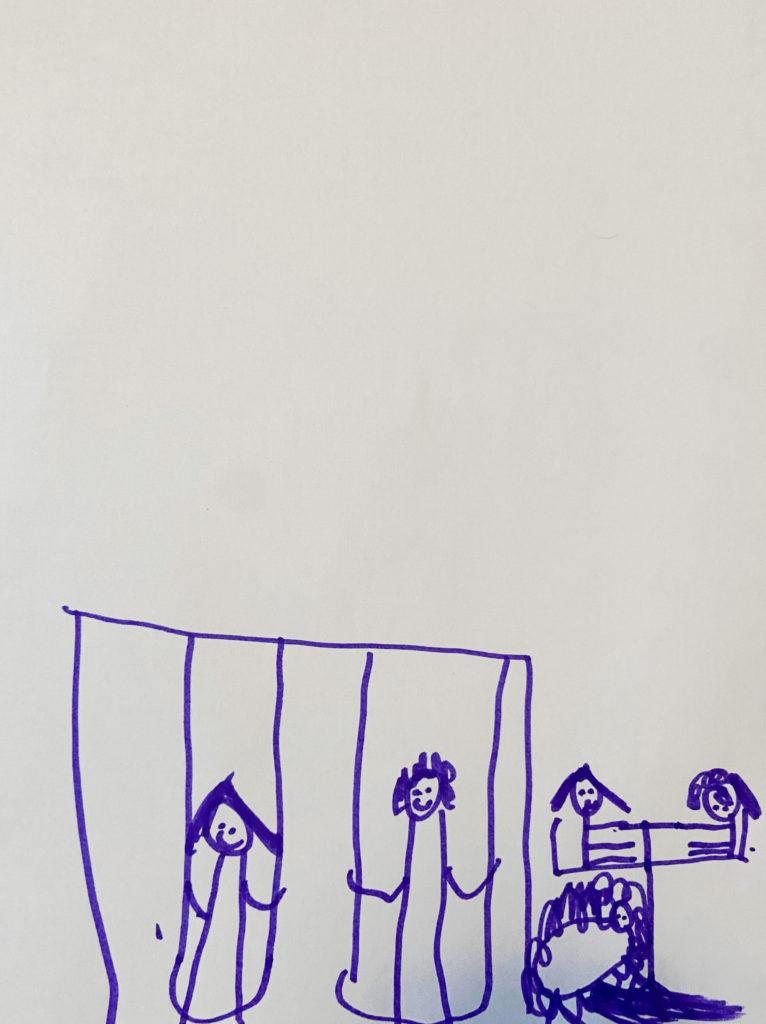 """Kids Drawing """"Turkeys in plgd."""""""
